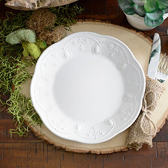 White Fancy Scroll Salad Plate