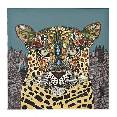 Leopard Zen Tangle Animal Canvas Art Print
