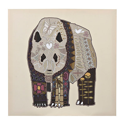 Panda Zen Tangle Animal Canvas Art Print