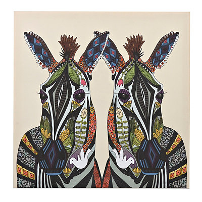 Zebras Zen Tangle Animal Canvas Art Print