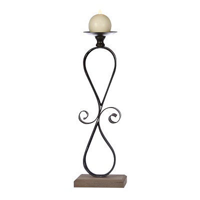 Dark Bronze Metal Scroll Candlestick, 18 in.