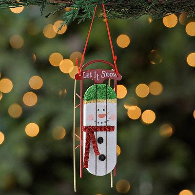 Snowman Sleigh Ornament