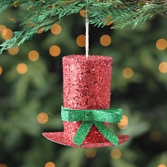 Red Glittered Top Hat Ornament