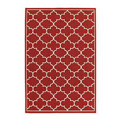Red Quatrefoil Jenn Outdoor Rug, 5x8