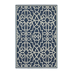 Blue Scrolled Gate Jenn Area Rug, 5x8