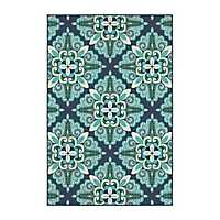 Floral Medallion Jenn Outdoor Rug, 5x8