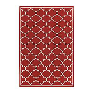 Red Quatrefoil Jenn Area Rug, 7x10