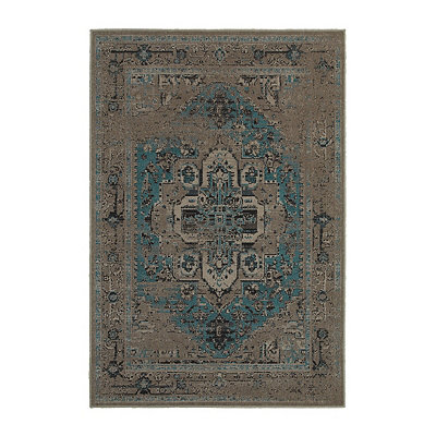 Gray and Blue Persian Mallory Area Rug, 7x10