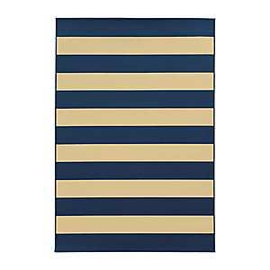 Navy Stripes Salina Outdoor Rug, 5x8