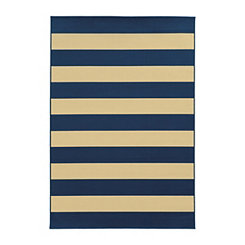Navy Stripes Salina Outdoor Rug, 5x8