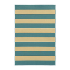 Turquoise Stripes Salina Outdoor Rug, 5x8