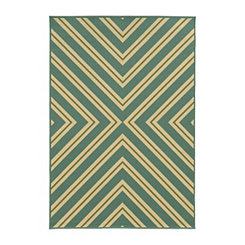Blue and Green Stripes Salina Outdoor Rug, 7x10