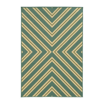 Blue and Green Stripes Salina Area Rug, 7x10