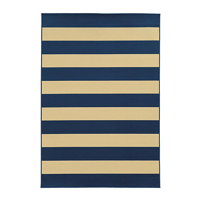 Navy Stripes Salina Area Rug, 7x10