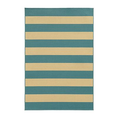 Turquoise Stripes Salina Area Rug, 7x10