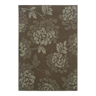 Chocolate Floral Veranda Area Rug, 5x8