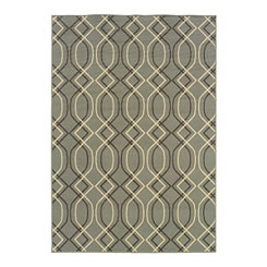Neutral Trellis Veranda Outdoor Rug, 5x8