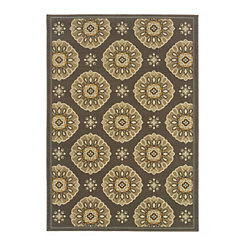 Gold and Gray Medallion Veranda Area Rug, 5x8