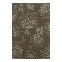 Chocolate Floral Veranda Outdoor Rug, 7x10