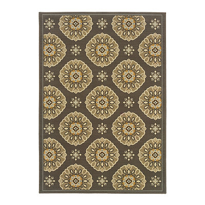 Gold and Gray Medallion Veranda Area Rug, 7x10