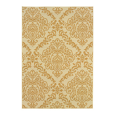 Golden Damask Veranda Area Rug, 7x10