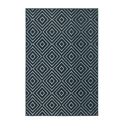 Navy Diamonds Walker Area Rug, 5x8