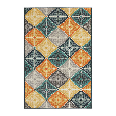 Multicolor Compass Walker Area Rug, 7x10
