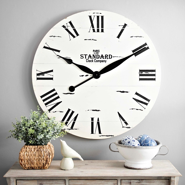 Jacob White Wood Plank Clock