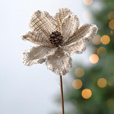 Linen Christmas Magnolia Stem