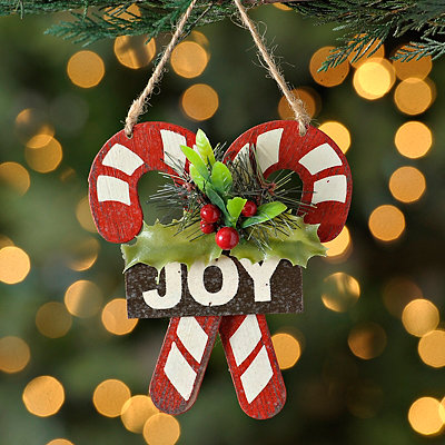 Joyous Twin Candy Cane Ornament