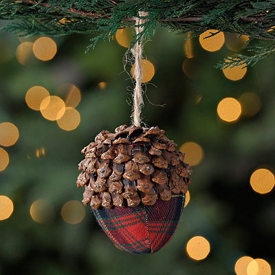 Plaid Acorn Christmas Ornament