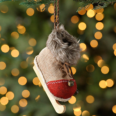 Burlap Skate Christmas Ornament