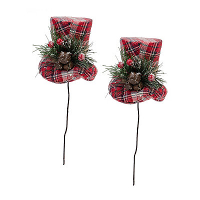 Plaid Top Hat Picks, Set of 2