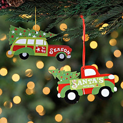 Santa's Season Truck and Car Ornaments, Set of 2