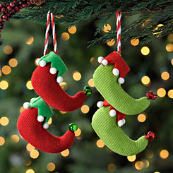Red and Green Hanging Elf Shoe Ornaments, Set of 2