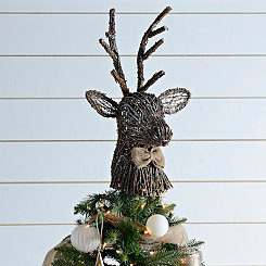 Rattan Deer Head Tree Topper