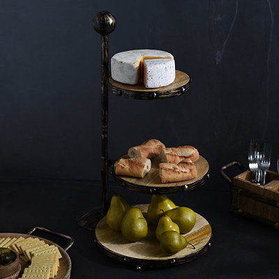 Wood and Metal 3-Tier Serving Tray