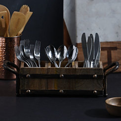 Wood and Metal Flatware Caddy