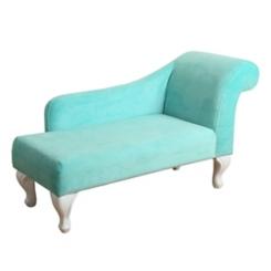 Turquoise Velvet Kids Chaise Lounge