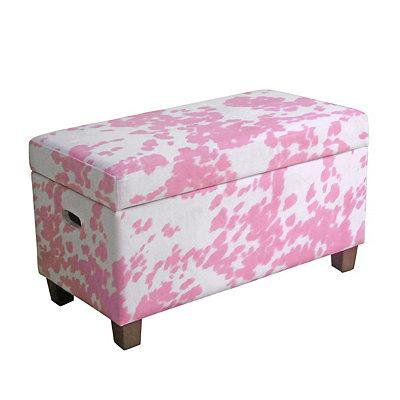 Pink Moo Moo Kids Storage Bench