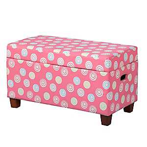 Pink Polka Dot Swirl Kids Storage Bench