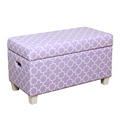 Purple Quatrefoil Kids Storage Bench