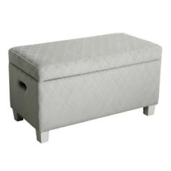 Gray Quatrefoil Kids Storage Bench