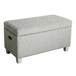Gray Quatrefoil Kids Storage Bench