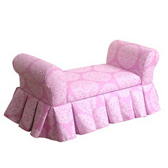 Pink Medallion Kids Storage Settee