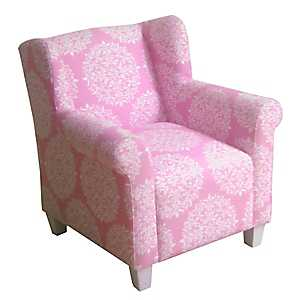 Pink Medallion Kids Wing Back Chair
