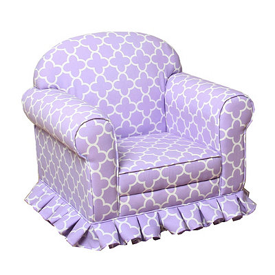 Purple Quatrefoil Skirted Kids Arm Chair