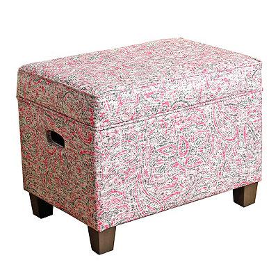 Pink Paisley Kids Storage Ottoman