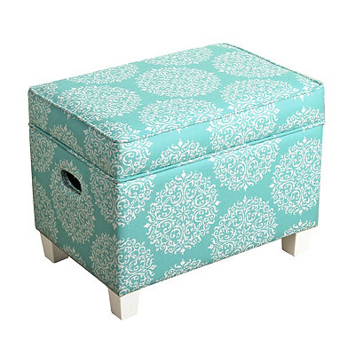 Turquoise Medallion Kids Storage Ottoman