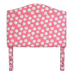 Pink Polka Dot Swirl Kids Twin Headboard